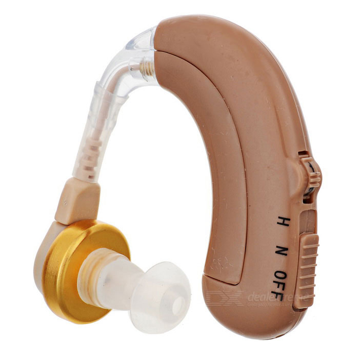 Rechargeable BTE Earhook Hearing Aid w/ 4-Mode Volume Control - Brown