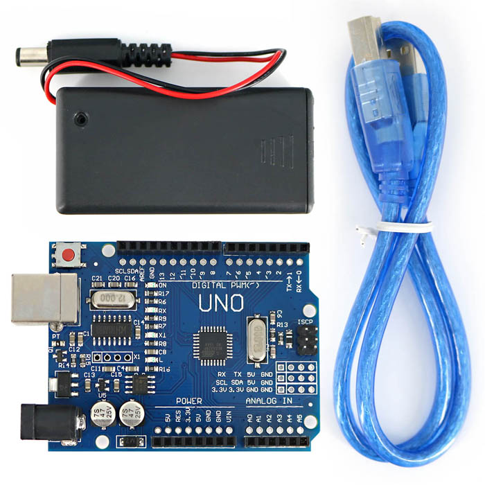 UNO R3 SMD ATmega328P Development Board for Arduino DIYBoards &amp; Shields<br>Form ColorDark Blue + Black + Multi-ColoredModelN/AQuantity1 DX.PCM.Model.AttributeModel.UnitMaterialPCB + plasticChipsetATmega328PEnglish Manual / SpecYesDownload Link   http://pan.baidu.com/s/1c0fePB6Packing List1 x UNO R3 development board 1 x USB cable (50+/-2cm)1 x 9V battery case (without batteries, cable length: 11+/-2cm)<br>