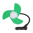 Mini Car Cigarette Lighter Powered 3-Blade Cooling Fan - Green