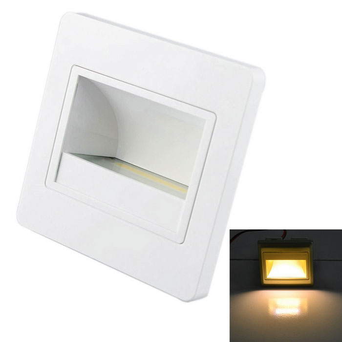 JIAWEN 1.5W 3000-3200K 120lm Embedded LED Footlights Stair Lamp COB Night Light (AC 100~265V)