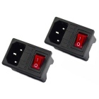 Interruptor do fusível do jtron com o plugue da entrada - preto (2PCS)