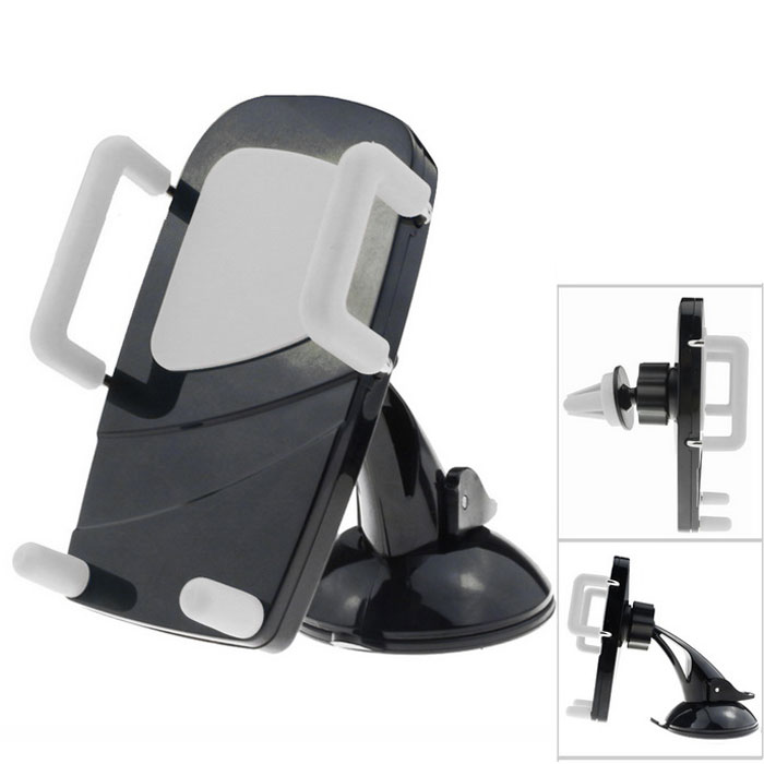 MO.MAT Universal Car Air Vent Mount w/ Suction Cup Holder for Smart Phone - Black + Gray
