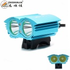 ZHISHUNJIA XM-L T6 2-LED 2000lm 4-Mode White Bicycle Light / Headlamp - Blue (4 x 18650)