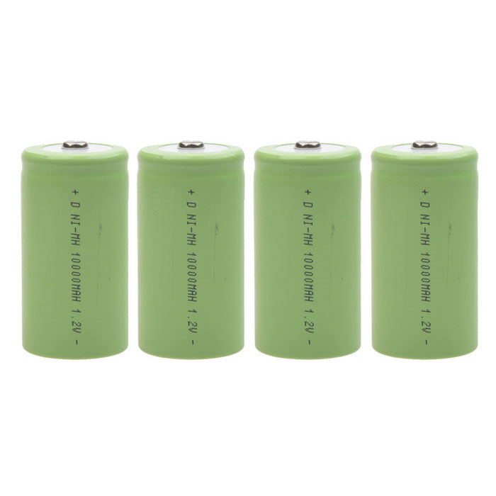 5000mAh 1.2V D-Type Rechargeable NiMH Battery - Green (4 PCS)