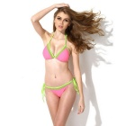COLLOYES Triangle Padded Bra Top + Classic Cut Bottom Bikini Swimwear Swimsuit - Pink + Green (L)