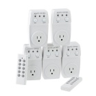 5 Pack Wireless Remote Control Power Outlet Plug Light Switch Socket 2 Remotes - White (US Plug)