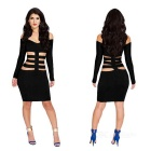 Hollow Out Fashion Package Buttocks Dress - Black (L)