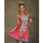 Women's Fashionable Ethnic Strapless Dress - Watermelon Red + Grey