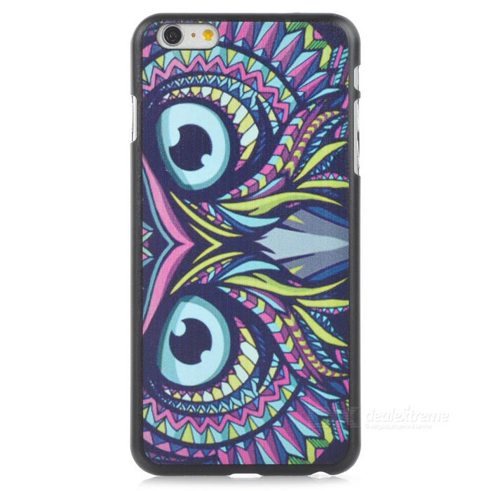 Owl Pattern PC Back Case Cover for IPHONE 6 PLUS - Black + Multicolor