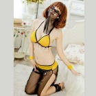 Sexy Arab Belly Dancing / Pole Dancing Uniform - Black + Yellow