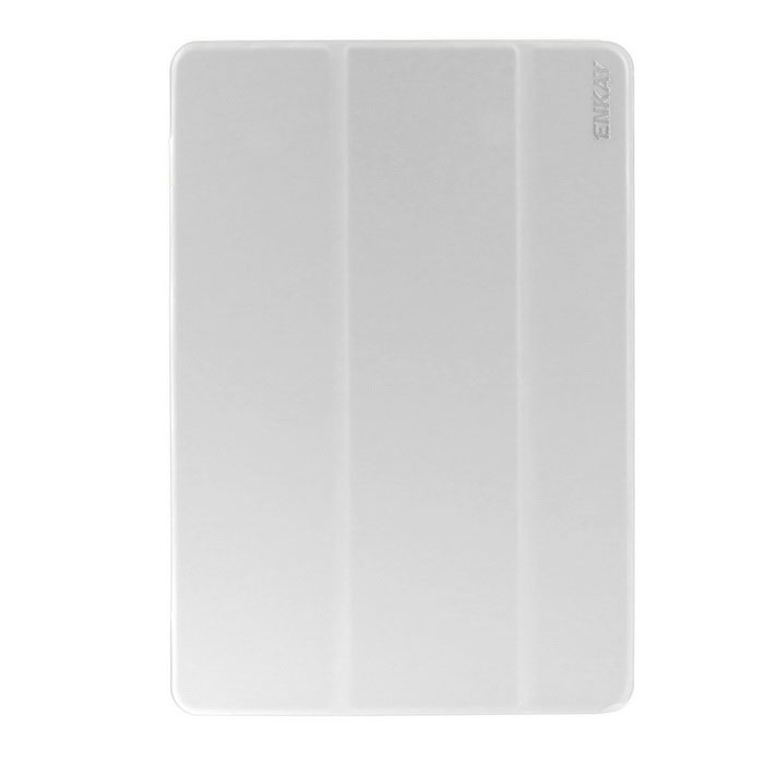 ENKAY Triple Folds Protective PU + Plastic Case w/ Stand for Samsung Galaxy Tab A 9.7 T550 - White