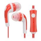 Mini 3.5mm Plug Flat Cable In-Ear Earphone w/ Microphone / Remote - Red + White