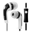Mini 3.5mm Plug Flat Cable In-Ear Earphone w/ Microphone / Remote - Black + White