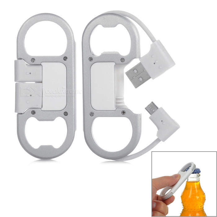 Universal USB Data Cable w/ Bottle Opener & Carabiner - White (2PCS)