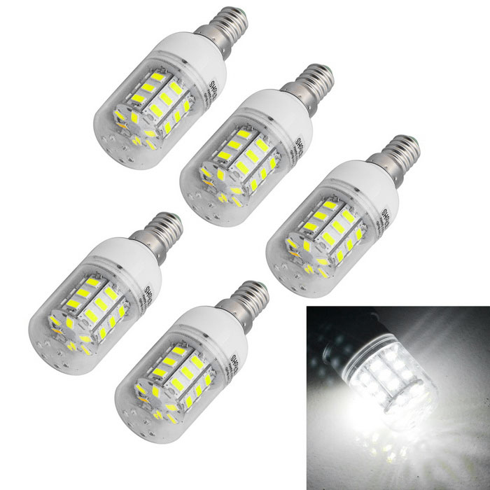 JIAWEN E14 6W LED Corn Light Cold White 600lm 30-5730 SMD (5PCS)E14<br>Form  ColorWhiteColor BINCold WhiteMaterialPlasticQuantity1 DX.PCM.Model.AttributeModel.UnitPower6WRated VoltageAC 220 DX.PCM.Model.AttributeModel.UnitConnector TypeE14Emitter TypeOthers,5730 SMDTotal Emitters30Theoretical Lumens480-600 DX.PCM.Model.AttributeModel.UnitActual Lumens480-600 DX.PCM.Model.AttributeModel.UnitColor Temperature12000K,Others,6000-6500KDimmableNoBeam Angle360 DX.PCM.Model.AttributeModel.UnitPacking List5 x LED lights<br>