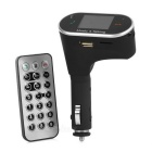 "1.5"" LCD Bluetooth Car FM Transmitter w/ Hands-Free Calling / MP3 Player / USB & TF Slots - Black"