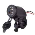 12~24V Waterproof Motorcycle Dual USB Charger Cigarette Lighter Power Plug With Handlebar Mount