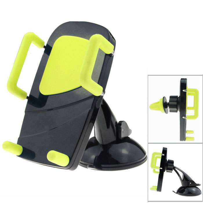 MO.MAT Universal Car Air Vent Mount w/ Suction Cup Holder for Smart Phone - Black + Yellow