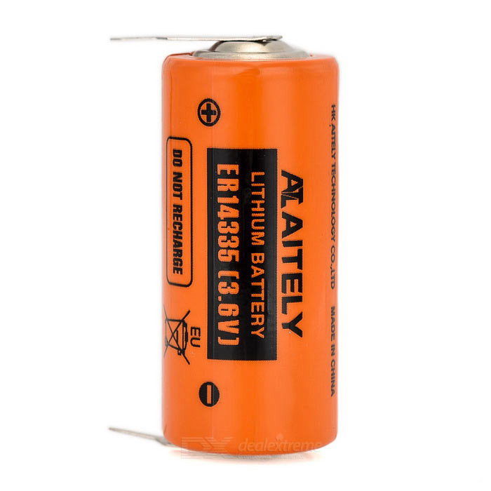AITELY Non-chargeable 3.6V ER14335 Lithium Battery w/ Welding Pin - Orange + Black