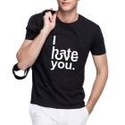 Men's Funny Letters 100% Cotton Short Sleeves Crew Neck T-shirt Tee - Black (XL)