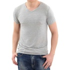 Man Modal + Cotton V-Ausschnitt dünne Kurzhülse T-Shirts - Grey (4XL)