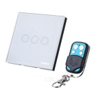 FUNRY 3 Gang 1 Way Tempered Crystal Glass Remote Control Smart Touch Wall Switch - White (EU/UK)