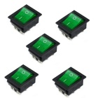 Jtron 6 Pin Terminals Rocker Boat Switch - Green (5PCS)
