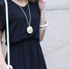 Women's Stylish Chiffon Dress - Black (L)