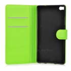 Lychee Pattern PU Case w/ Stand / Card Slots for Huawei P8 - Green