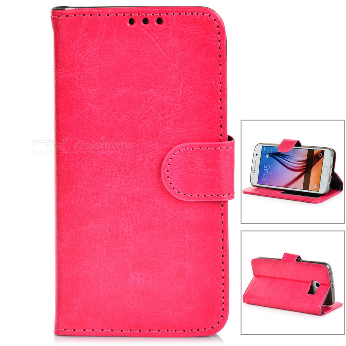 PU Case w/ Stand / Card Slots for Samsung S6 Edge - Deep Pink