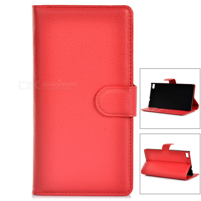 Lychee Pattern Protective PU Fall w / Stand / Card Slots für Huawei P8 - Red