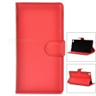 Lychee Pattern Protective PU Case w/ Stand / Card Slots for Huawei P8 - Red