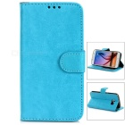 Protective PU Case w/ Stand / Card Slots for Samsung S6 Edge - Blue