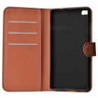 Lychee Pattern PU Case w/ Stand / Card Slots for Huawei P8 - Brown