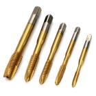 Titanium Coated HSS High-Speed Steel M3~M8 Screw Taps (5PCS) - Gold + Silver