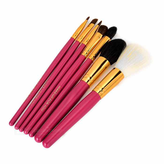 7-in-1 Professional Cosmetic Makeup Brushes Set - Deep Pink + Blue