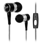 Stylish In-Ear Earphones w/ Microphone / 3.5mm Jack for Cell Phones / Tablets - White + Black