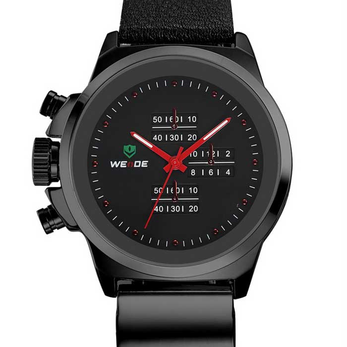 WEIDE WH3305 Men's Waterproof Leather Band Quartz Watch - Black + Red