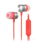 Stylish In-Ear Earphones w/ Clip / Mic / 3.5mm Plug for IPHONE / Samsung / Xiaomi - Red + Silver