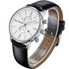 WEIDE WH3302 Men's Leather Band Quartz Analog Watch - White + Silver