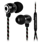 Stylish Universal In-Ear Metal Flat Earphones w/ Microphone - Black (116cm±2cm)