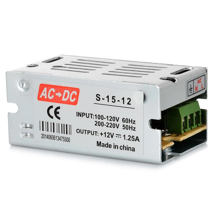 15W AC-DC LED Power Driver for G4 / G9 LED Lamp - Silver + YellowLED Power Drivers<br>MaterialAluminum alloy + electronicForm ColorSilver + Yellow + Multi-ColoredQuantity1 pieceWater-proofNoInput Voltage100~220 VOutput VoltageDC 12 VWorking Temperature-20~70 ?Output Current1.25 AInput CurrentN/A ARated Working Voltage100~220 VWorking Current1.25 ACertificationCEPacking List1 x LED power driver<br>