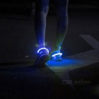 Outdoor Sports Blue LED Light Safety Shoes Clip - White + Blue