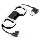 Universal USB Data Cable w/ Bottle Opener & Carabiner - Black (2PCS)