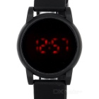 Stylish Men's Round Touch Digital Red LED Watch w/ Plastic Strap - Black (1 x 2016)