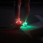 Outdoor Sports Green LED Light Safety Shoes Clip - White + Black