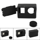 PANNOVO Protective Silicone Case w/ Back Cover + Lens Cap for GoPro Hero 4 / 3+ / 3 - Black