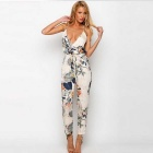 European Style Sexy Printed Cotton Halter Deep V-Neck Siamese Trousers - White (Size L)