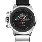 WEIDE WH3305 Men's Sports Waterproof Leather Band Quartz Analog Wrist Watch - Black + Silver
