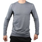Men's PRO Sport Tight Quick Dry Anti-sweat Long Sleeve Cycling Jersey Top - Black + Gray (L)